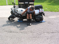 Good leverage required to pick the motorcycle up